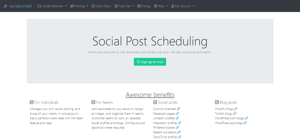 SocialOomph dashboard - Hootsuite alternative #9
