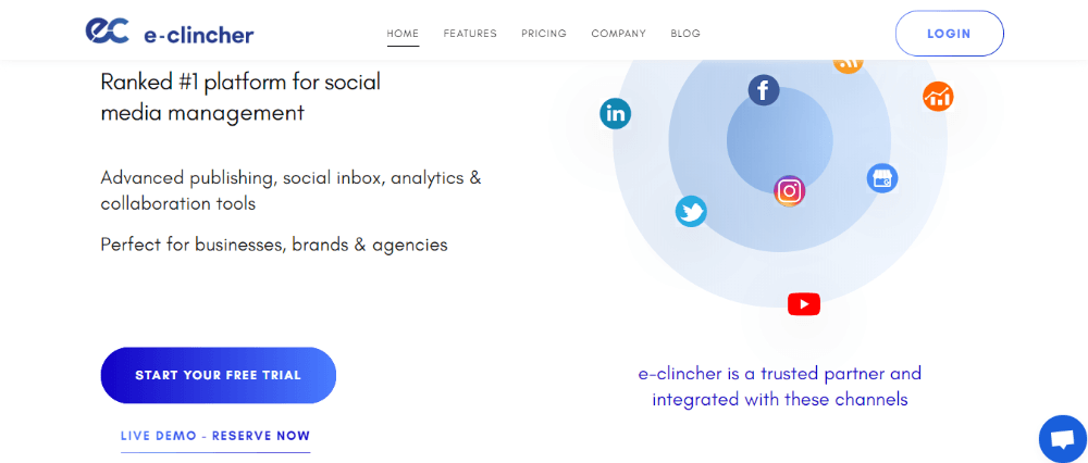 e-clincher dashboard - Hootsuite alternative #2