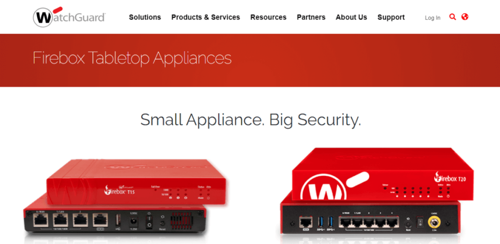Firebox Tabletop Appliances for small business security firewalls
