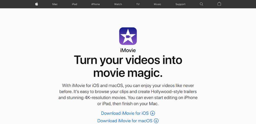 iMovie - video editing software for beginners