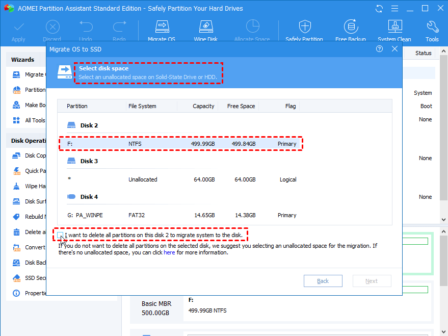 Choose an unallocated space on the SSD