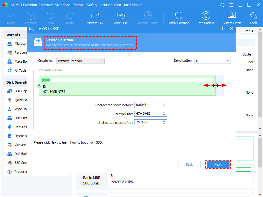 edit the SSD partition information if needed