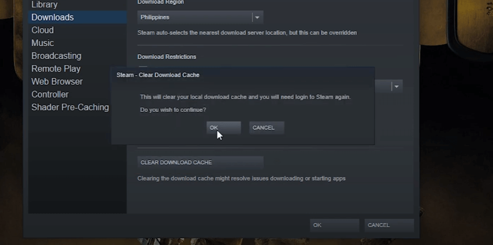 Clear Steam's download cache to solve Steam download stopping problem