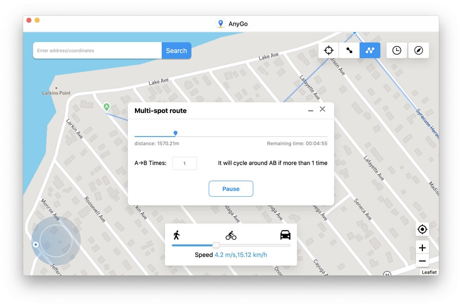 How to Use Multi-spot Route in AnyGo iPhone Location Spoofer