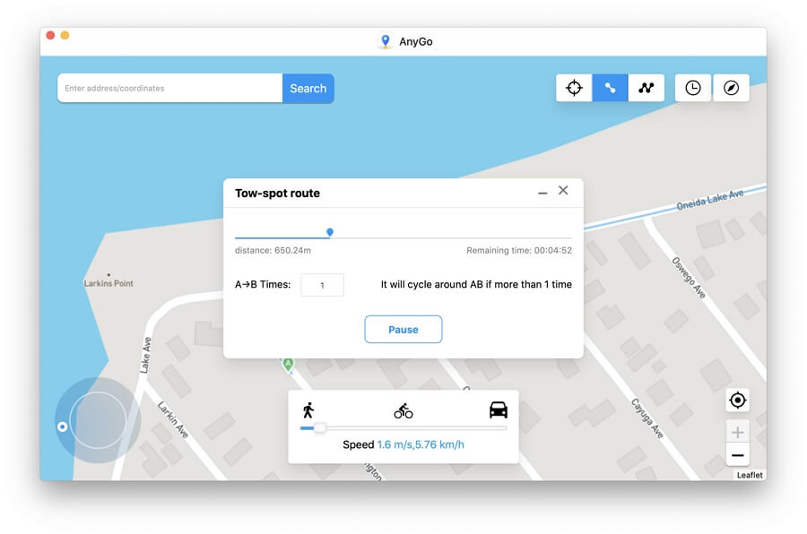 How to Use Two-spot Route in AnyGo iPhone Location Spoofer