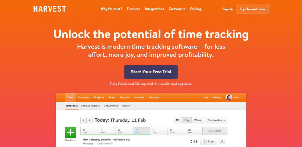 Harvest - Alternative to FreshBooks - Invoicing and time tracking software